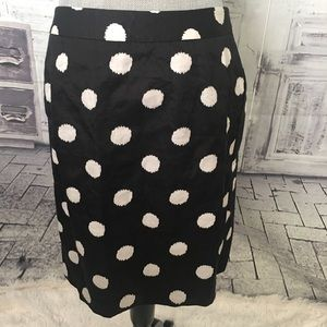Ann Taylor Black Cream Polka Dot Skirt